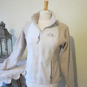 North Face Womens M zip front tan fleece jacket